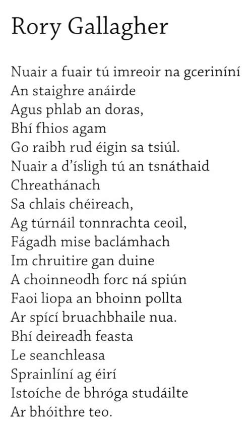Rory Gallagher Irish Musician Poem in Irish by Irish poet Stiofán Ó Cadhla from his book An Creideamhach Déanach